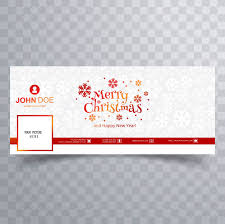 Merry christmas card with facebook cover banner template Vector ...