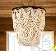 amelia wood bead chandelier pottery barn advanced with wooden beads fresh 3