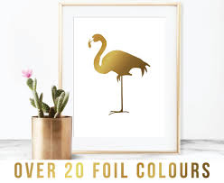 flamingo print flamingo wall art flamingo gift gold by vintagefoil on rose gold wall art ebay with flamingo foil print foil print copper rose gold flamingo