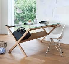 wooden desk glass contemporary covet by shin azumi