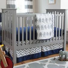 navy and gray elephants 3 piece crib bedding set