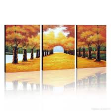 2017 100 handmade oil painting wall art decoration deciduous in most recently released 3 piece