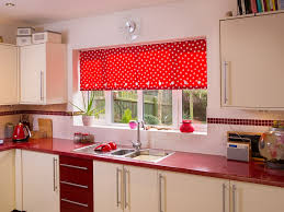 spotty red roller blind roller blinds the kent window company kitchen
