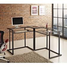 com we furniture 56 metal glass corner computer desk black kitchen dining