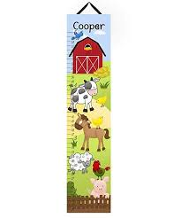 Toad And Lily Growth Chart Toad And Lily Canvas Growth Chart Farm Animals Cow Horse