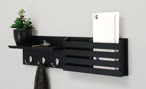 Black Key Holder Mail Rack Wall Mount Organizer Letter Storage, Keys Hanger  Hook