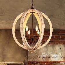vintage cottage style distressed white wooden globe chandelier black metal candelabra 6 light ceiling light