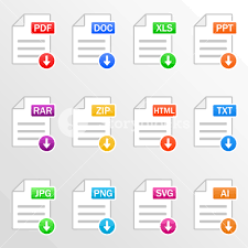 Document files. Icon set. Download file formats - pdf, doc, xls, ppt ...
