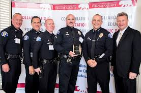 ed leiva officer chris shelgren officer brian hatfield chief todd elgin and garden grove mayor steven jones photo courtesy of ociation of california