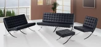 exposition famous design black leather sofa set