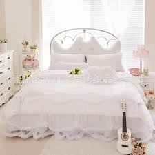 luxury snow white bedding sets queen king 4pcs lace ruffle bedspread princess comforter duvet cover bed