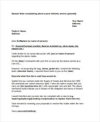 complaint letter samples service delivery complaint letter