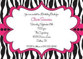 Hot Pink And Black Zebra Print Girls Birthday Party