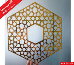 home decoration golden mirror acrylic sheet wall sticker laser cutting images