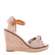 tory burch beige canvas bow macy espadrille wedge platform sandals