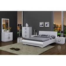 Mirror Bedroom Set Furniture Eddy High Gloss White Bedroom Set Bed Single Dresser Mirror And