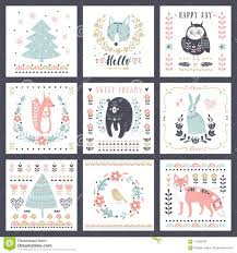 Postcards With Cute Illustrations Vector Set For Children S Prints
