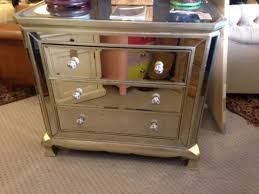 Venetian Aged Mirrored 3 Drawer Shaped Chest