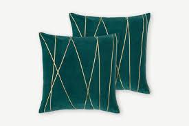 Lonford <b>Set of</b> 2 Velvet <b>Cushion</b>, 45x45, Peacock Green & Gold ...