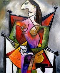pablo picasso diva in a red chair