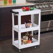Homcom 3 Tier Kitchen Service Cart Utility Trolley Garage Wheel Storage W Handle