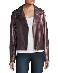 metallic leather moto jacket