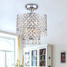 chrome finish inch crystal semi flush mount chandelier foyer