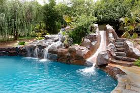 Outdoor pool with slide Mediterranean Fauxrockslidewaterfeature1 Mission Pools Freeform Pool Riverside Natural Pool Escondido Lake Forest
