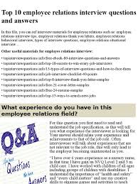 Top 10 Employee Relations Interview Questions And Answers Pptx