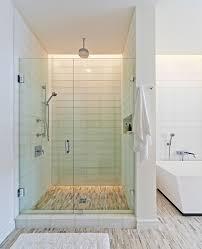 Glass Tile for Shower Bathroom Modern with Bathmat Bathtub Freestanding Tub