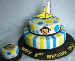 Mod Monkey 1 Banana Tiered First Birthday Cake With Baby Cake