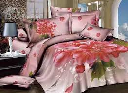 3d hot pink cherry blossom printed cotton 4 piece bedding sets duvet covers