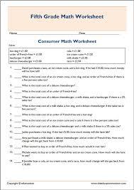 Basic printable consumer math worksheet | Fifth Grade Worksheets ...