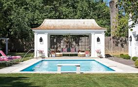 pool house ideas. View In Gallery Matching Decor And Common Hues Inside Outside The Pool House Create A Curated Poolscape [ Ideas L