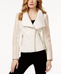 guess colorblocked faux leather jacket in white lyst gallery