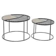 Black, round, coffee tables : Grayson Lane Metal Pole And Carved Wood Round Accent Tables Set Of 2 In The Accent Table Sets Department At Lowes Com
