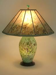 t231 lighted american art glass lamp base from the lindsay studio mica shade with sea