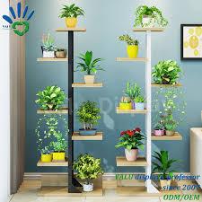 Hot Item Premium Bamboo Wooden Metal Plant Stand Indoor Outdoor Garden Planter Flower Pot Shelf