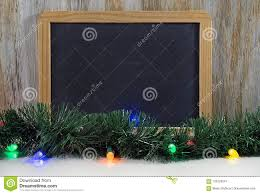 Chalkboard With Lights Black Chalkboard With Christmas Lights And Garland Stock