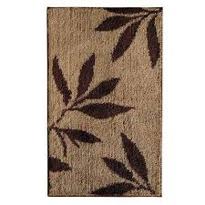 leaves 34 in x 21 in bath rug in brown tan