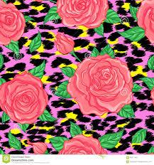 Fusion Floral Design Seamless Elegant Vintage Floral Pattern Over Leopard Skin