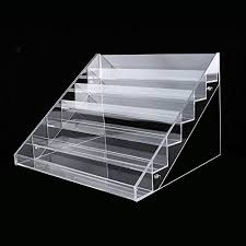 Acrylic Tiered Display Stands Nail Polish Table Rack Acrylic Clear Makeup Display Stand Rack 75
