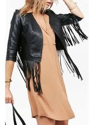 glamorous vegan leather fringe jacket black s