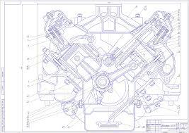 Курсовые и дипломные работы автомобили расчет устройство  Чертеж Поперечный разрез двигатель ГАЗ 53