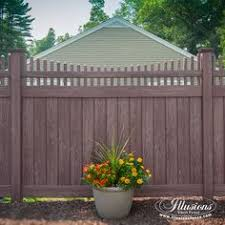 vinyl fence ideas.  Vinyl Vinyl PVC Wood Grain Privacy Fencing Panels With Scalloped Picket Topper In  Walnut By Illusions Fence Are A Great Idea For Your Home For Ideas D