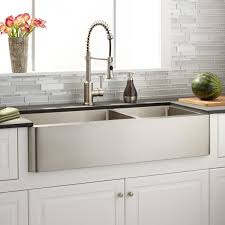 stainless steel farm sinks for kitchens 39 hazelton 6040 offset double bowl stainless steel farmhouse sink