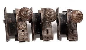 antique door hardware. SOLD Three Matching Antique Door Hardware Sets By F. C. Linde, With Knobs, Plates, L