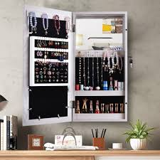 details about wall mounted jewelry cabinet mirrored makeup storage photo organizer box white