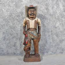 carved wooden cowboy statue 11625 for the taxidermy