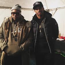 victor cruz rocks moncler jacket hanging with nas in hstry hoo at x in aspen vibzn